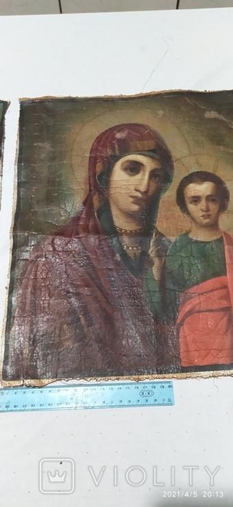 Иконы Богородицы и крещение господне написаны на коже 43/34см, фото №10