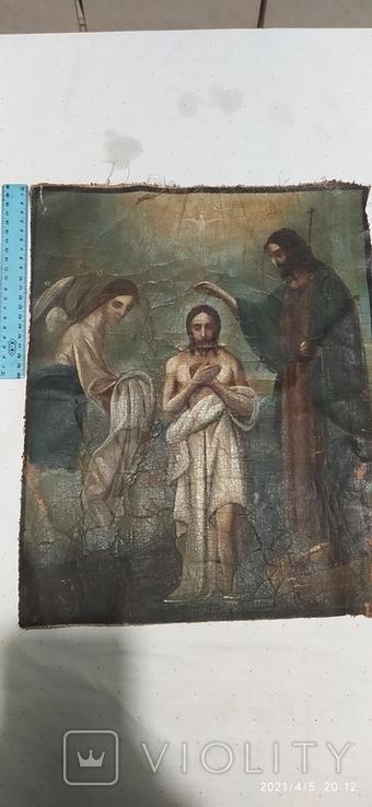 Иконы Богородицы и крещение господне написаны на коже 43/34см, фото №11