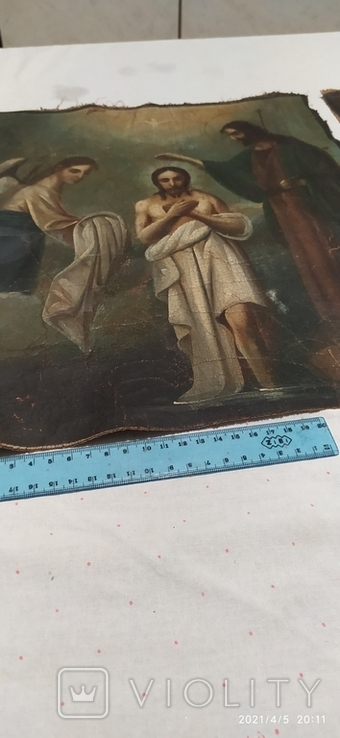 Иконы Богородицы и крещение господне написаны на коже 43/34см, фото №12