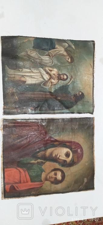 Иконы Богородицы и крещение господне написаны на коже 43/34см, фото №13