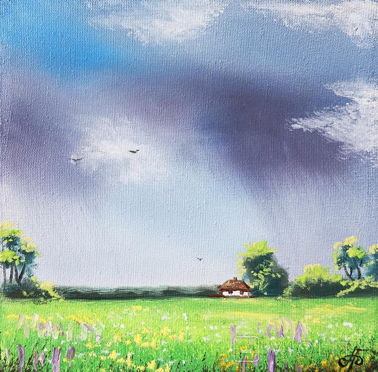 Картина, Відтінки дощу, 15х15 см. Живопис на полотні, фото №2