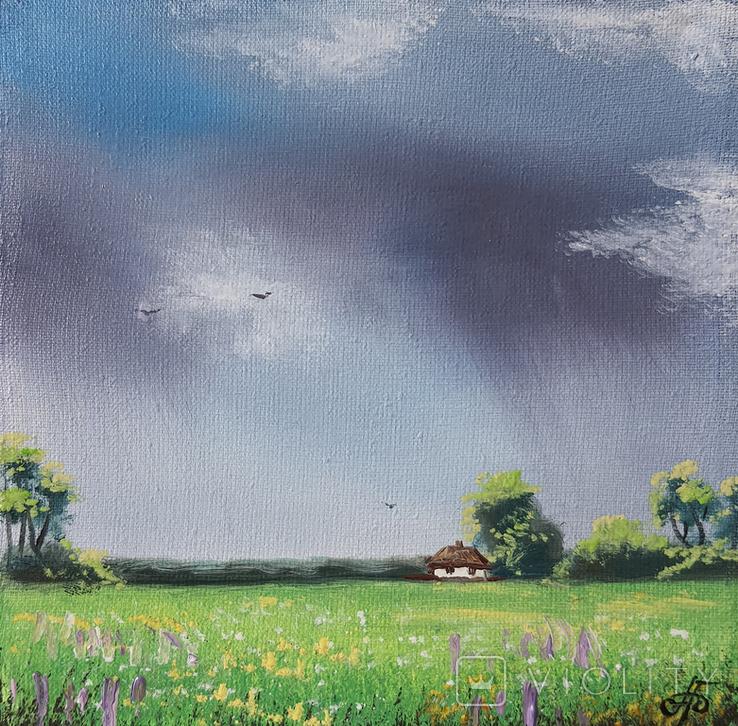 Картина, Відтінки дощу, 15х15 см. Живопис на полотні, фото №4
