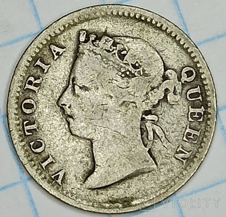 Гонконг 5 центов 1893 Виктория серебро, фото №3