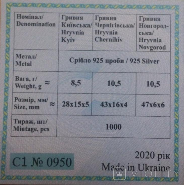 Набор монет серебро гривня київська чернігівська новгородська футляр 2020 набор тип 1, фото №7
