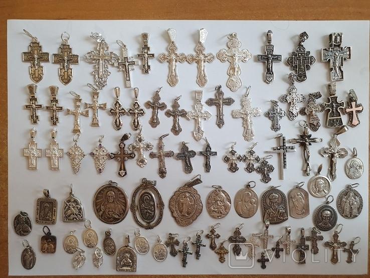 Крестики нательные православные. Большой лот. Серебро 925. Вес 226 г., фото №2