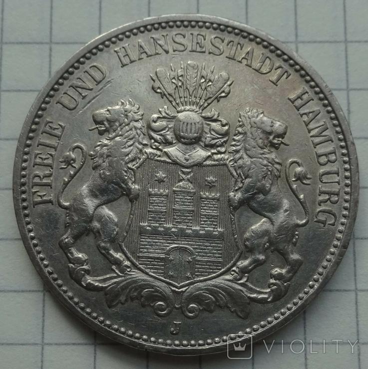 3 марки, Гамбург, 1910 год., фото №2