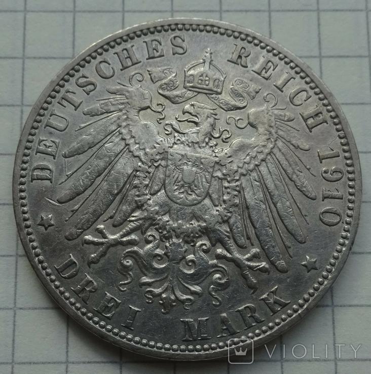 3 марки, Гамбург, 1910 год., фото №3