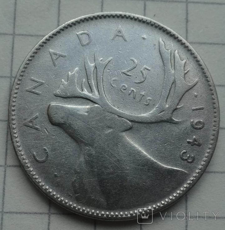 1943 год, Канада, 25 центов., фото №3