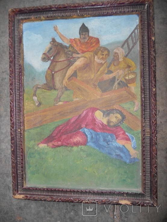 Картина старая размер 40х35 см., фото №2
