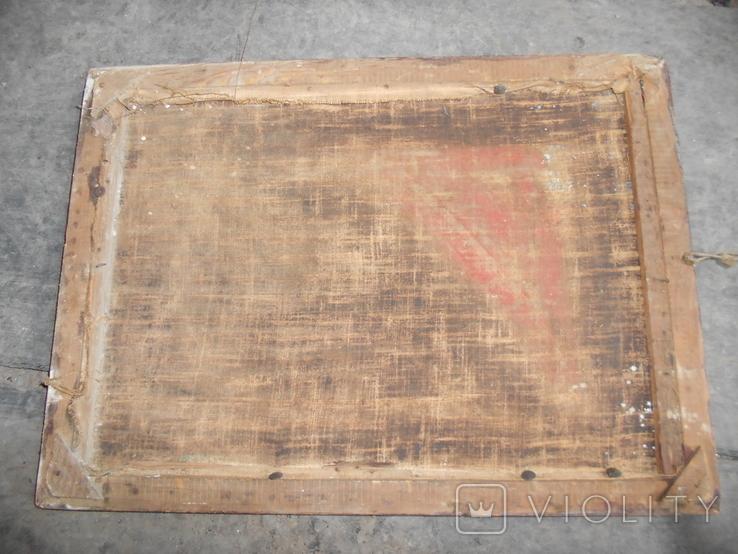 Картина старая размер 40х35 см., фото №5