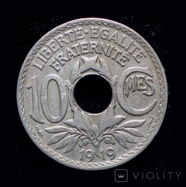 Франция 10 сантим 1919, фото №2