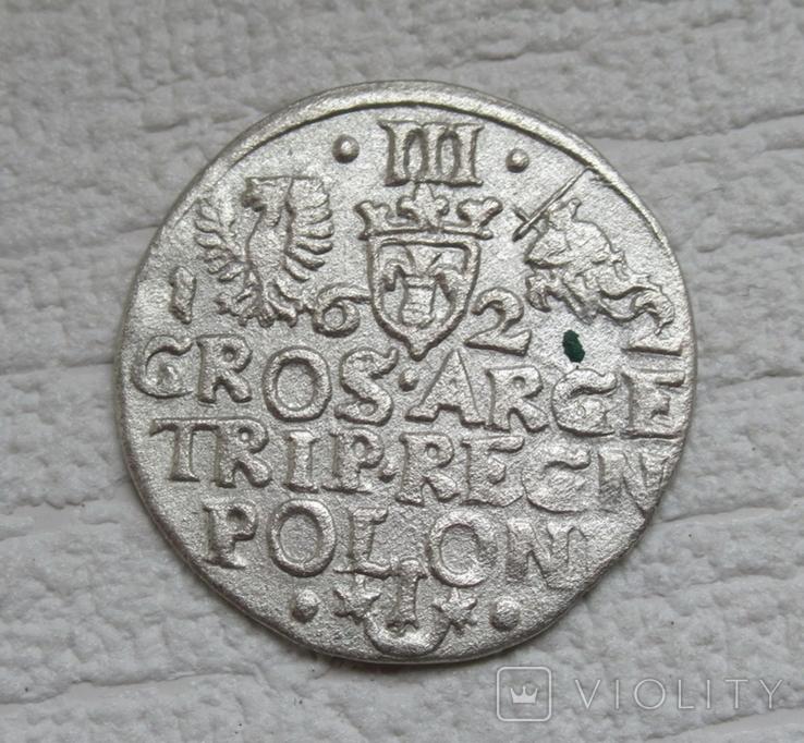 Трояк 1622 г. Сиг. ІІІ Ваза, фото №5