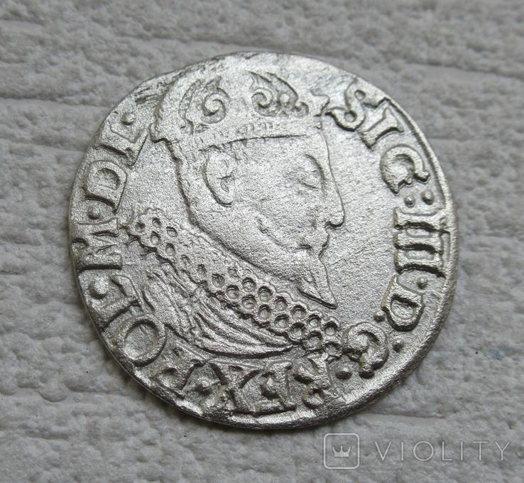 Трояк 1622 г. Сиг. ІІІ Ваза, фото №9