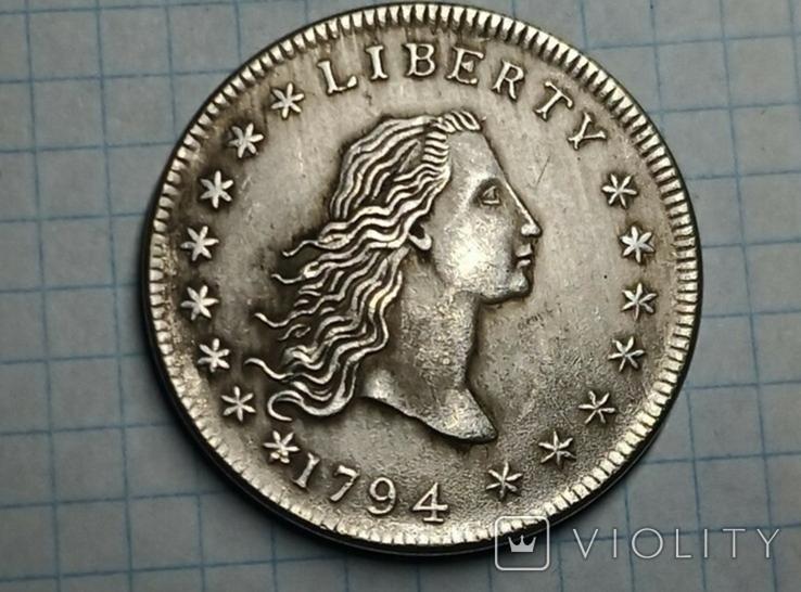Доллар 1794 Распущеные волосы копия самой дорогой монеты в мире, фото №2