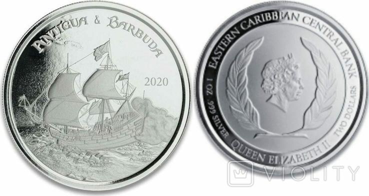 2 Доллара 2020 Монтсеррат (Серебро 0.999, 31.1г) 1oz, Восточные Карибы Унция