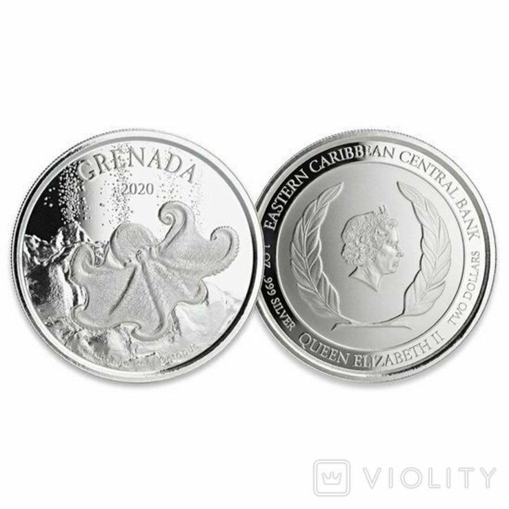 2 Доллара 2020 Гренада (Серебро 0.999, 31.1г) 1oz, Восточные Карибы Унция