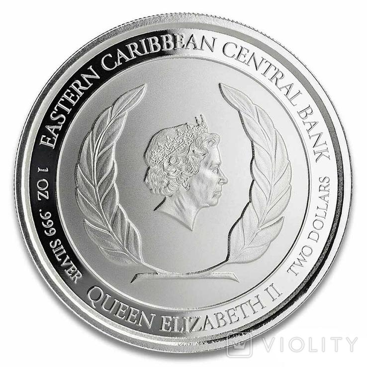 2 Доллара 2020 Сент Киттс и Невис (Серебро 0.999, 31.1г) 1oz, Восточные Карибы Унция, фото №3