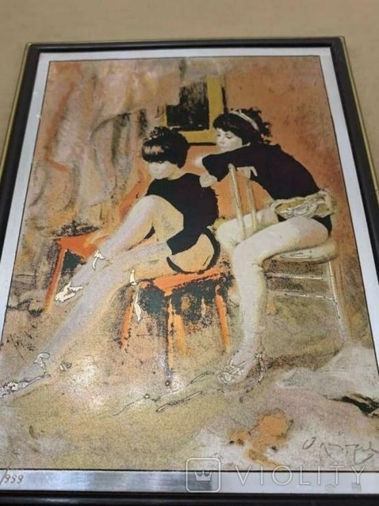 Картина GIANCARLO VITALI 1981 г. документы (Сертификат). Серебро 800 Италия., фото №2