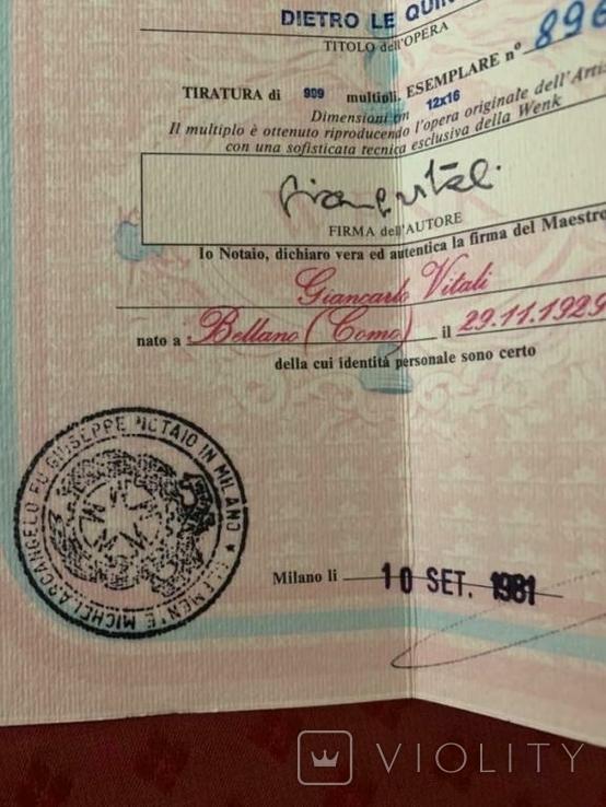 Картина GIANCARLO VITALI 1981 г. документы (Сертификат). Серебро 800 Италия., фото №8
