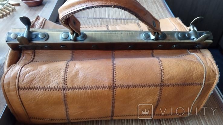 Сумка - саквояж кожаный винтажный, фото №2
