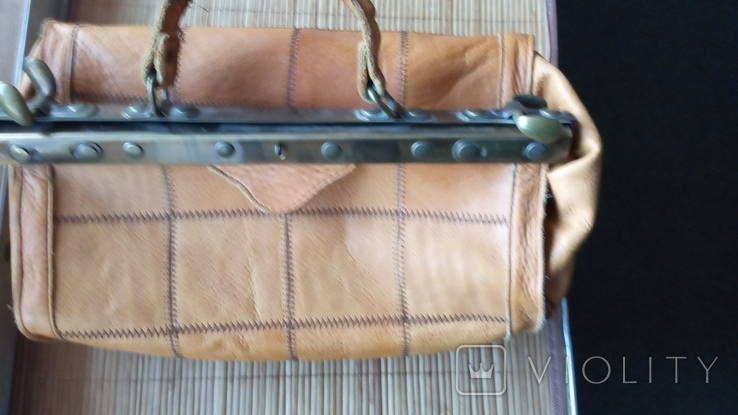 Сумка - саквояж кожаный винтажный, фото №4