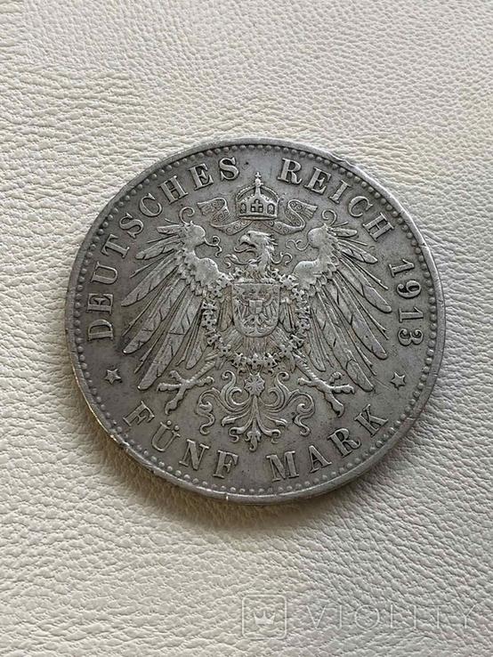 Германия 5 марок 1913 год серебро, фото №3
