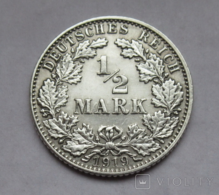 1/2 марки 1919 г. (Е) Германия, серебро, фото №4