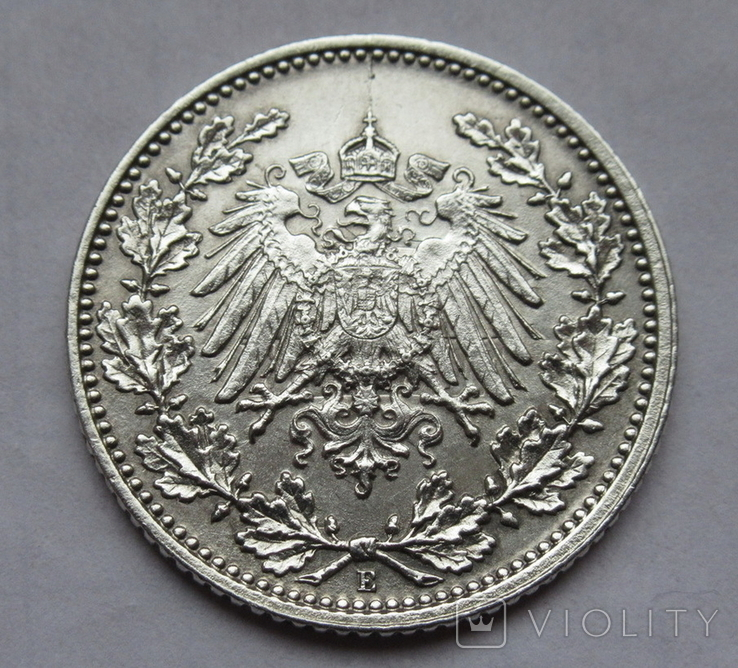 1/2 марки 1919 г. (Е) Германия, серебро, фото №6