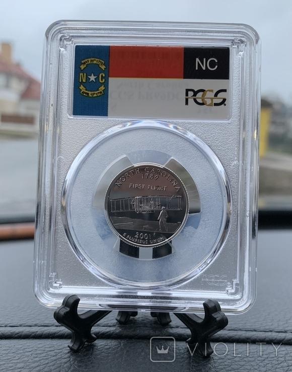 Серебряный четвертак Quarter dollar silver 2001 S PCGS, фото №3