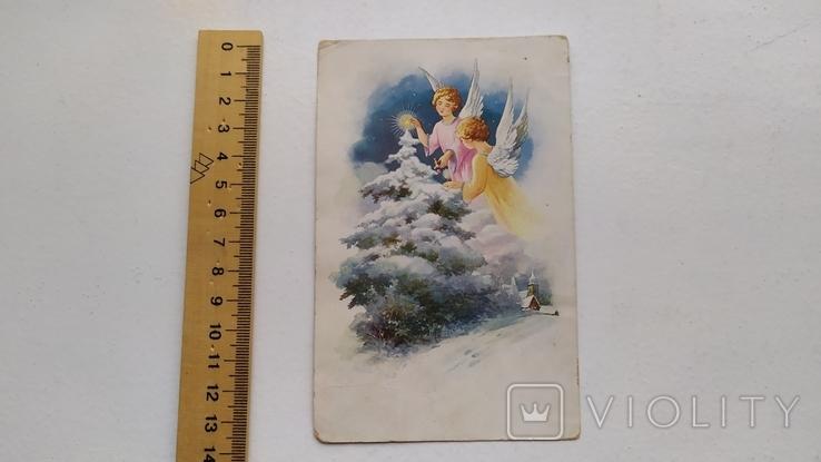 Открытка иностранная Рождество ангел 1937 год, фото №2