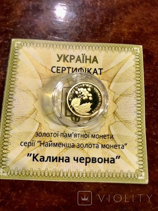 "2 грн золото 9999 пробы ""Калина червона"", фото №3"