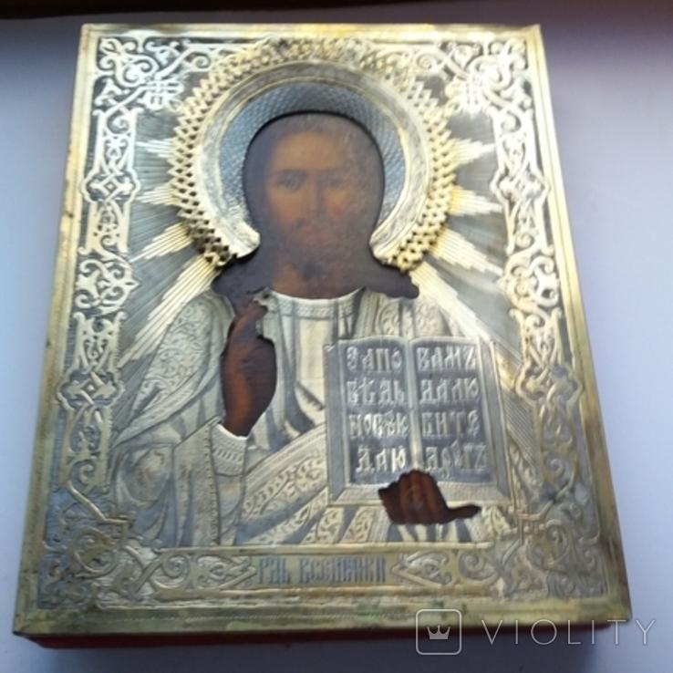 Икона Господь Вседержитель 1886 год, оклад серебро, фото №3
