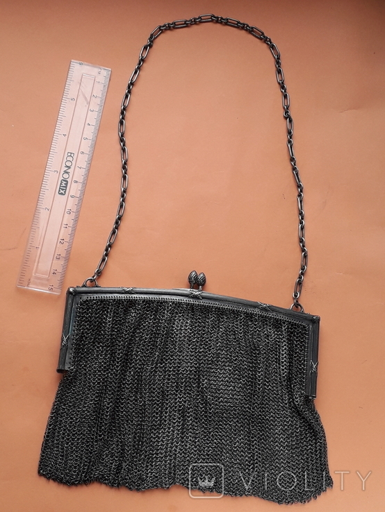 Коктейльная сумочка, кольчужное плетение, серебро, 221 грамм, Франция, фото №2