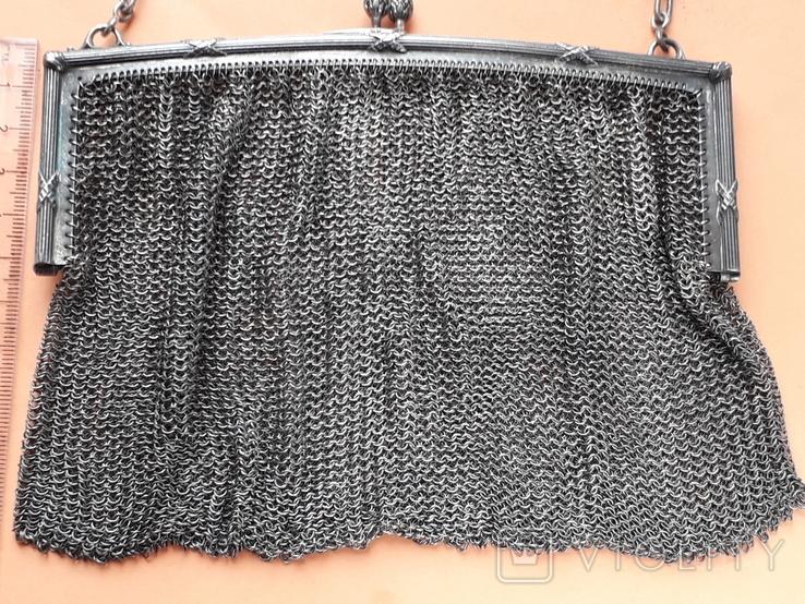 Коктейльная сумочка, кольчужное плетение, серебро, 221 грамм, Франция, фото №3