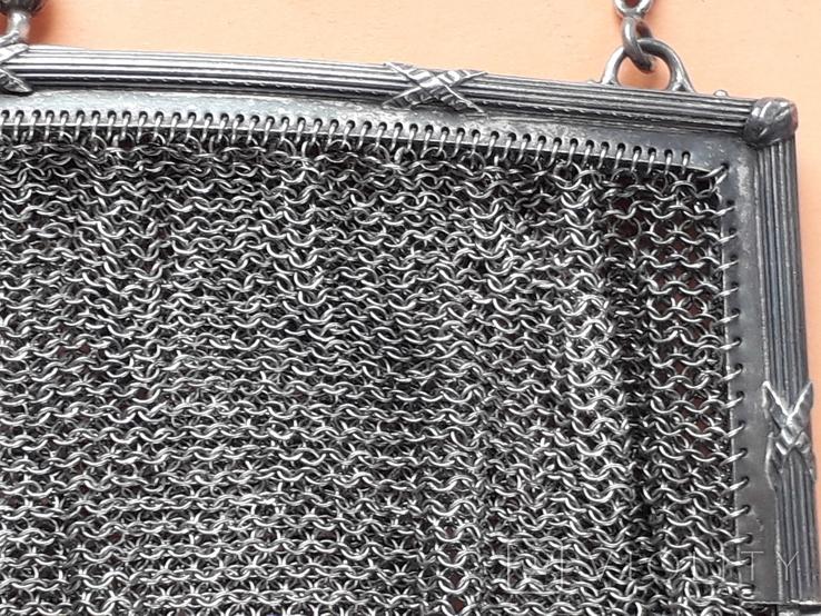 Коктейльная сумочка, кольчужное плетение, серебро, 221 грамм, Франция, фото №6