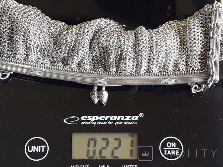 Коктейльная сумочка, кольчужное плетение, серебро, 221 грамм, Франция, фото №11