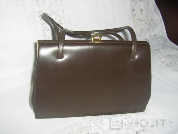 Сумочка винтажная кожаная Англия, фото №2