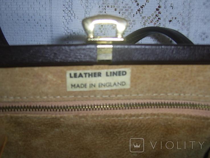Сумочка винтажная кожаная Англия, фото №7