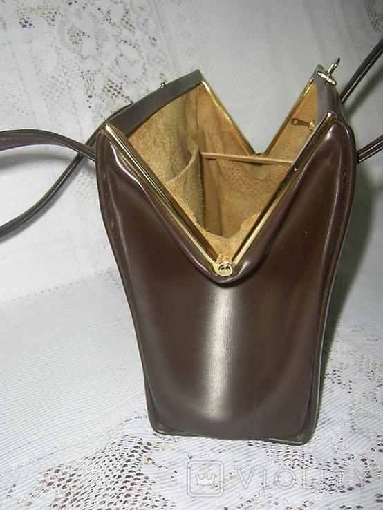 Сумочка винтажная кожаная Англия, фото №8
