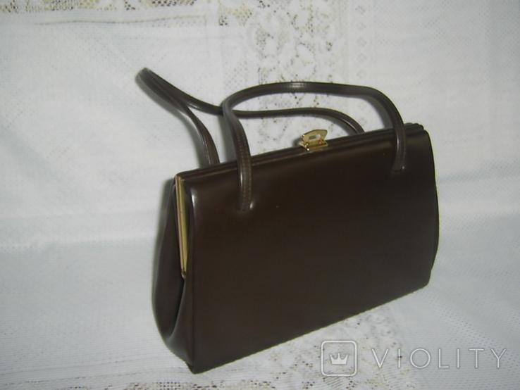 Сумочка винтажная кожаная Англия, фото №11