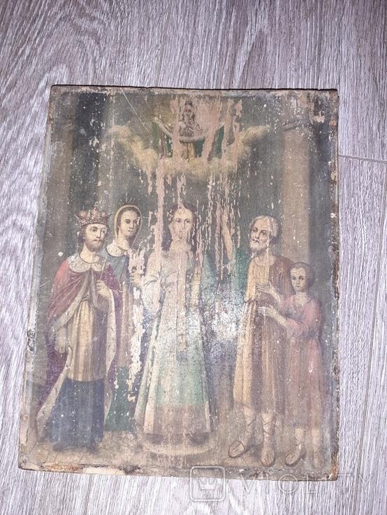 Икона Покрова Пресвятой Богородицы на дереве 22 * 28.5см, фото №3