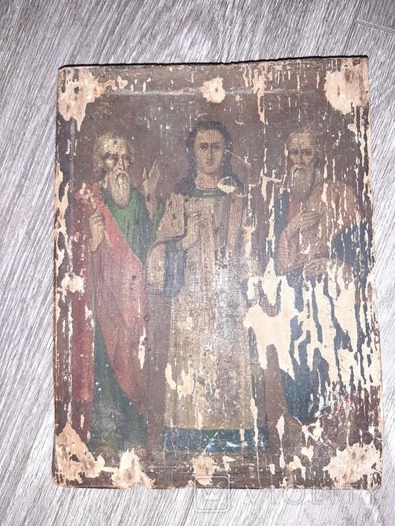 Икона Спаситель Иисус Христоссо святыми  на дереве 17*23см 19 век, фото №4