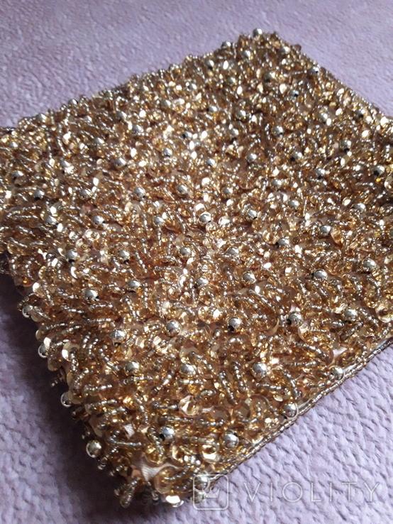 Театральная золотая сумочка -кошель, обшитая бисером, пайетками и бусинами., фото №3