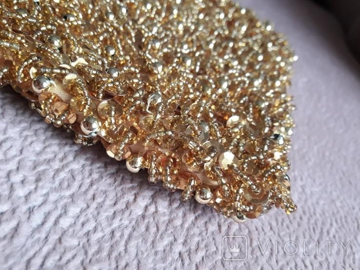 Театральная золотая сумочка -кошель, обшитая бисером, пайетками и бусинами., фото №4