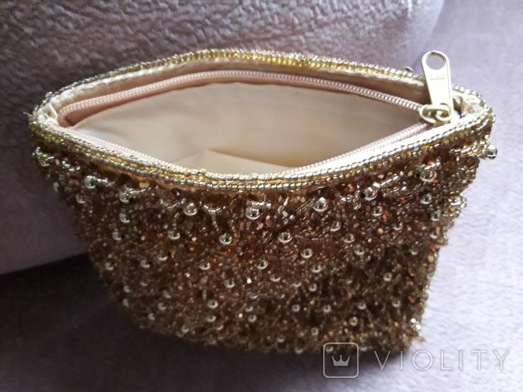Театральная золотая сумочка -кошель, обшитая бисером, пайетками и бусинами., фото №6
