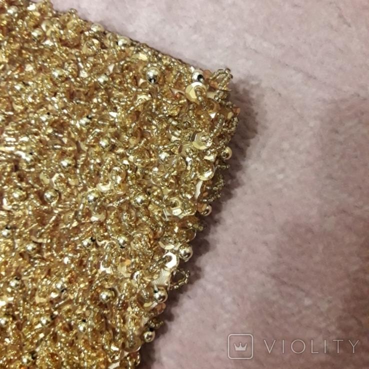 Театральная золотая сумочка -кошель, обшитая бисером, пайетками и бусинами., фото №9