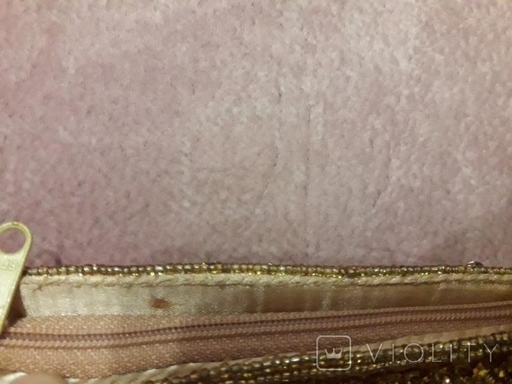Театральная золотая сумочка -кошель, обшитая бисером, пайетками и бусинами., фото №10