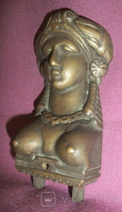 Барельеф *Восточная красавица*. Старинная накладка на мебель. Бронза ХІХ век., фото №6