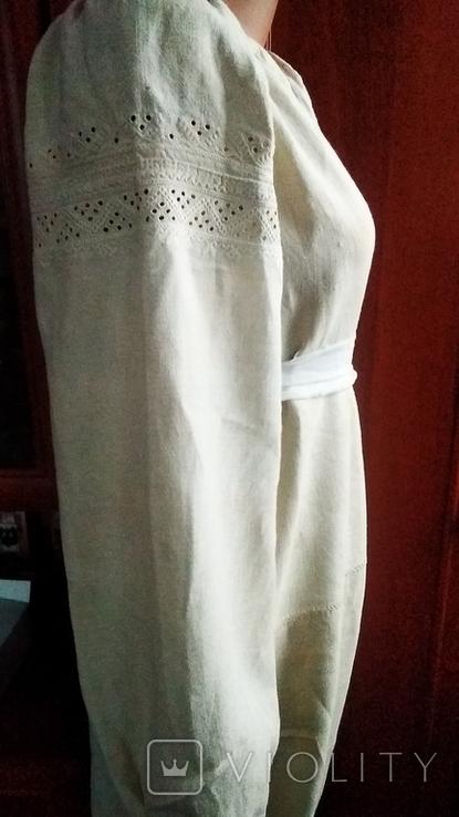Старинная  вышиванка белым по белому с вырезанием., фото №5