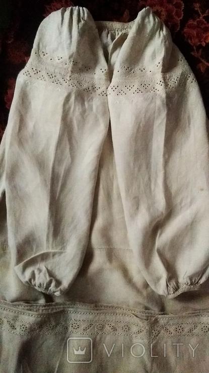 Старинная  вышиванка белым по белому с вырезанием., фото №6